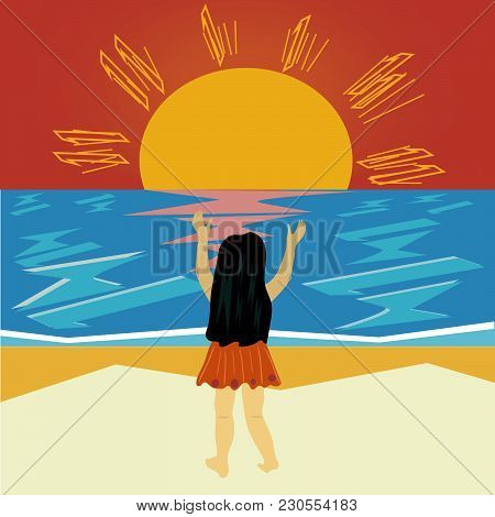 Girl Praise The Sun On Beach Vector Illustration