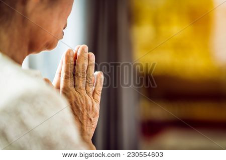 Close Up Grandmother's Hand Pray Respect For Faith Spirituality And Religion (buddha, Christian). As
