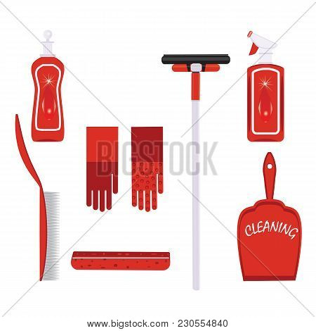 Set For Cleaning Detergent In A Bottle Gloves Scoop Brush Sponge Washbowl Wiper Isolated On White Ba