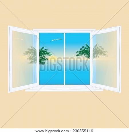 Window Open Inside Glass Transparent Behind The Window Landscape Sunrise Sea Palm Tree Gull Reflecti