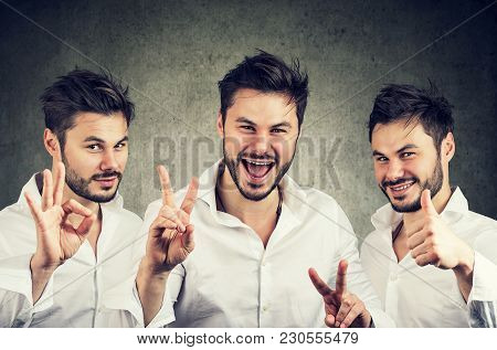 Concept Collage Of Young Handsome Man Showing Various Gestures Of Success.