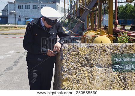 Kaliningrad, Russia - June 19, 2016: Unknown Cadet Of The Kaliningrad Marine Fisheries College Looki