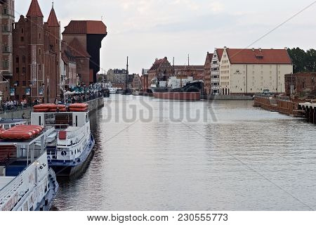Gdansk, Poland - June 07, 2014: Panorama Of The Motlawa River In The Historical Part Of Gdansk And A