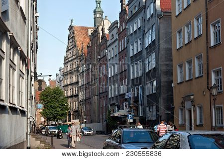 Gdansk, Poland - June 07, 2014: Historical Chlebnicka Street In Main Town In Gdansk. The Street Ment