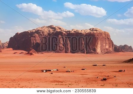 Wadi Rum, Jordan - May 11, 2013: Aerial View To The Wadi Rum Desert In Jordan. Wadi Rum Also Known A