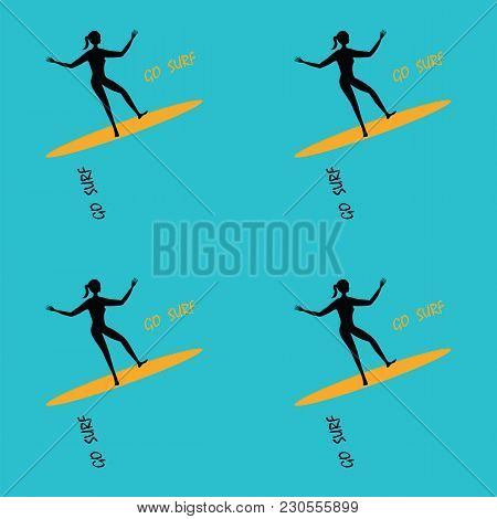 Pattern Female Surfer On A Surfboard Art Creative Vector Blue Background