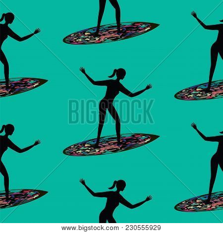 Pattern Female Surfer On A Surfboard Art Creative Vector