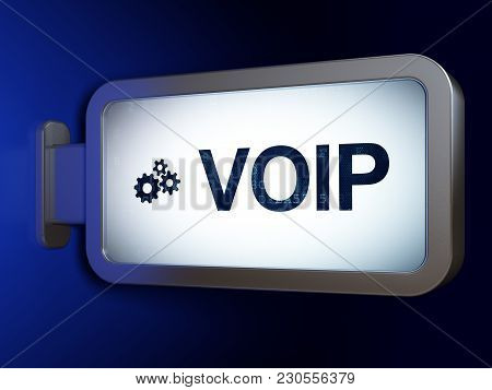Web Design Concept: Voip And Gears On Advertising Billboard Background, 3d Rendering