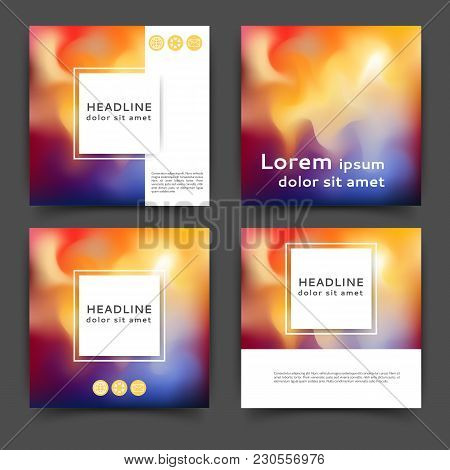 Set Of Square Color Brochures, Books Template With Abstract Blurred Background