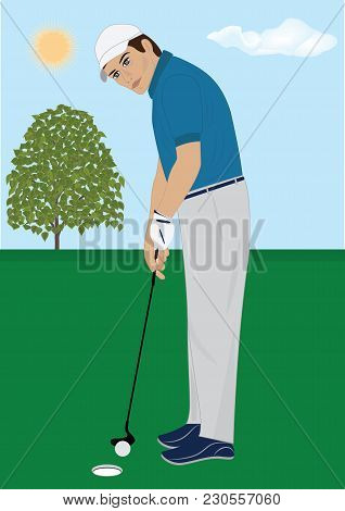 Man Playing Golf At Nature Art Creative Modern Vector Illustration Flat Style