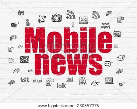 News Concept: Painted Red Text Mobile News On White Brick Wall Background With  Hand Drawn News Icon