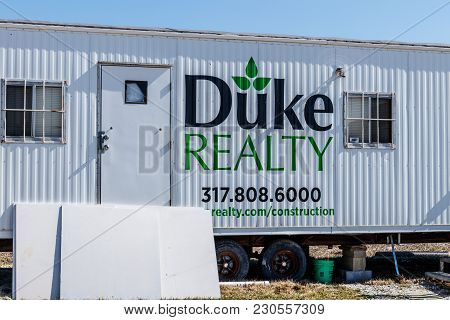 Whitestown - Circa March 2018: Duke Realty Construction Trailer. Duke Realty Develops, Builds And Ma