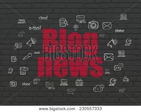News Concept: Painted Red Text Blog News On Black Brick Wall Background With  Hand Drawn News Icons