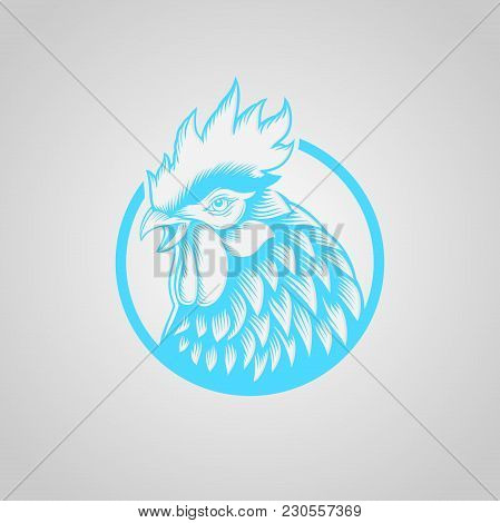 Roosters Icons, Chicken Heads With Circle Logo Vector, Design Elements For Logo, Label, Emblem, Sign