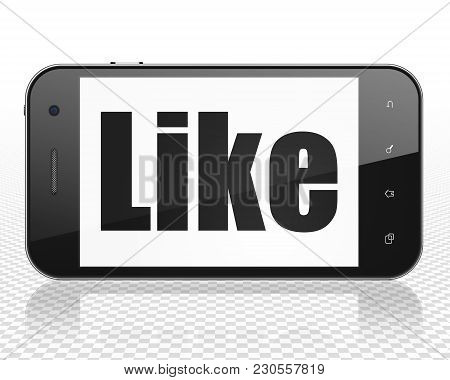 Social Media Concept: Smartphone With Black Text Like On Display, 3d Rendering
