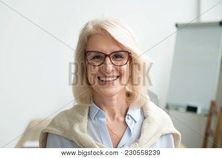 Smiling Attractive Senior Businesswoman Wearing Glasses Head Shot, Happy Aged Teacher, Successful Wo