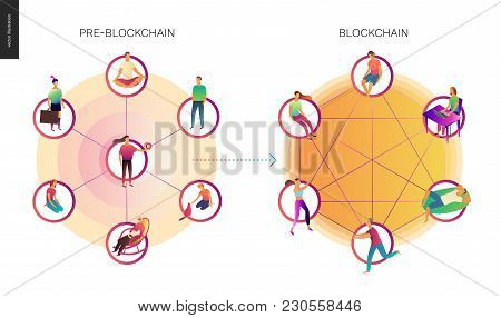 Blockchain Concept Vector Illustration - Scheme Showing The Cryptocurrency Transaction Processing An