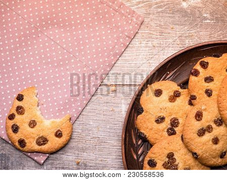 Homemade Cookies On A Vintage Wooden Background