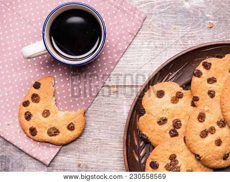 Homemade Cookies With A Cup Of Coffee On The Table Homemade Cookies With A Cup Of Coffee On The Tabl