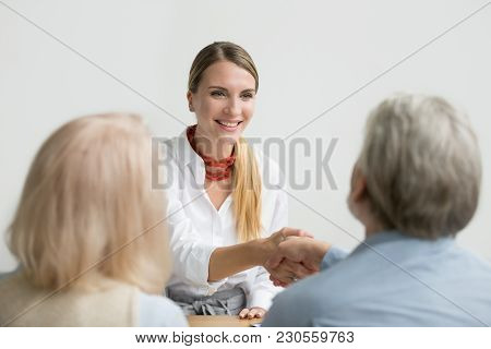 Smiling Confident Businesswoman Applicant Shaking Hand Of Senior Hr Manager Making Good First Impres