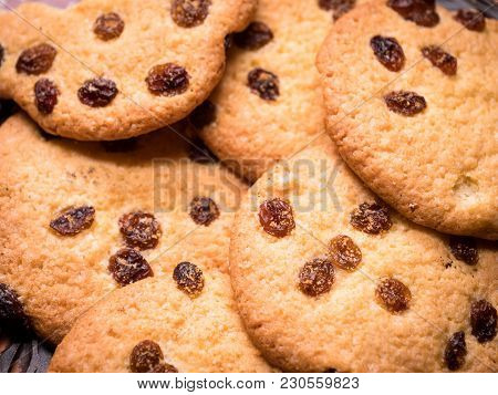 Homemade Cookies On A Vintage Wooden Background. Close-up