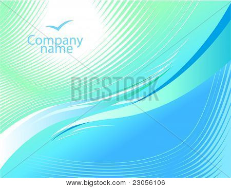 Light blue wavy background.