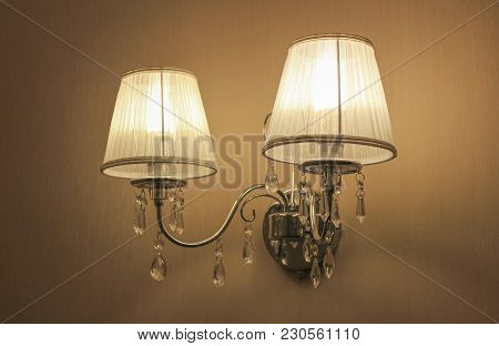 Lighted Wall Lamp With Two Classic Shades