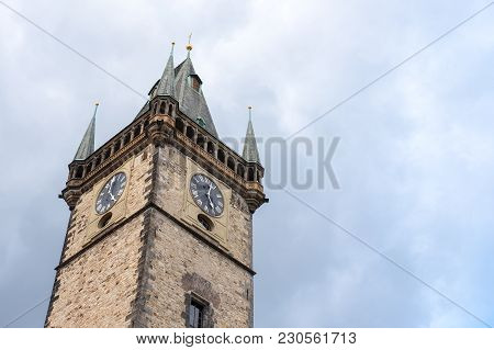 Top Of Astronomical Clock, Or Prague Orloj, A Medieval Astronomical Clock Located In Prague, The Cap