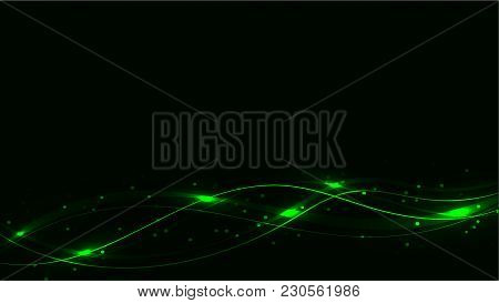 Green Transparent Abstract Shining Magical Cosmic Magical Energy Lines, Rays With Glare And Dots And
