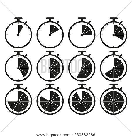Set Of Stopwatch Time Icons On White Background