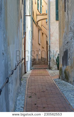 A Typical Italian Narrow Street In A Village