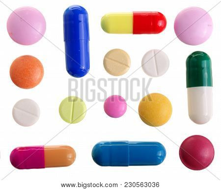 Multicolor Pill Capsule Isolated On White Background. Top View. Flat Lay. Set Or Collection.