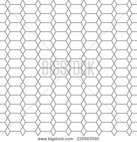 Geometric Line Style Seamless Pattern. Hex And Rhombus Shape Gray And White Color Net Background. Ce