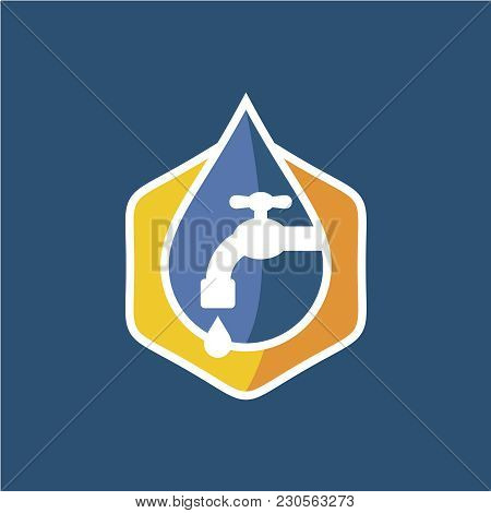 Plumbing Logo. Colorful Style Symbol Of Water Drop With Tap And Gear Silhouettes. Faucet Sign With W