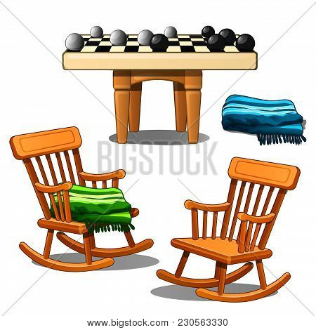 Two Armchairs-rocking Chairs And Round Checkers Isolated On White Background. Vector Cartoon Close-u