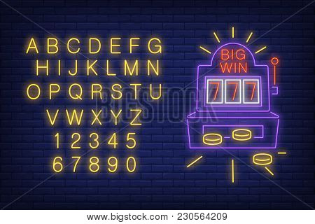 Big Win Neon Sign. Neon Light Alphabet And Numbers Set. Slot Machine With Coins. Night Bright Advert