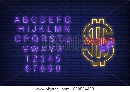 Casino Night Neon Sign. English Alphabet And Numbers. Dollar Sign In Brick Wall. Night Bright Advert