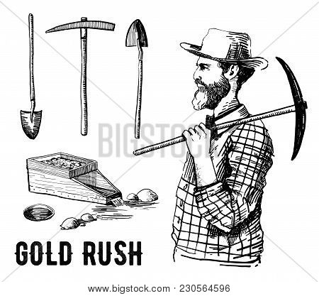 California Gold Rush Vector Hand Drawn Set With Miner And Tools Isolated On White Background