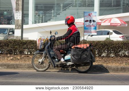 Chiang Mai, Thailand -february 27 2018: Postman And Motercycle Of Thailand Post. Photo At Road No.12