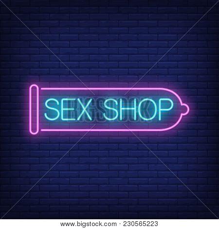 Sex Shop Neon Sign. Pink Condom On Brick Wall. Night Bright Advertisement. Vector Illustration In Ne