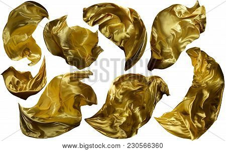 Golden Flying Fabric, Flowing Waving Gold Cloth, Shine Yellow Clothes Drapes Piece, Isolated On Whit