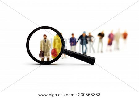 Miniature People: Recruitment Zoom Magnifying Glass Picking Business Person Candidate People Group.