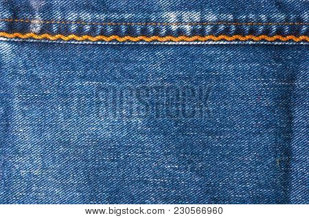 Blue Faded Jeans Texture With Yellow Seams, Macro, Close Up