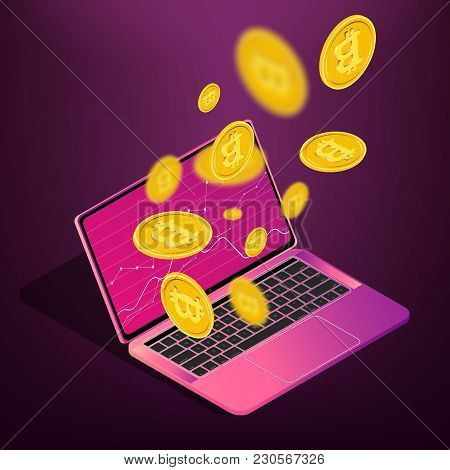 Bitcoin Cryptocurrency Mining On Laptop, Online Paying Concept, Isolmetric Vector Illustration. Tech