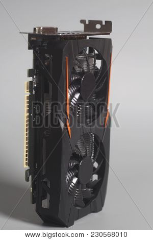 Graphic Videocard For Crypto Currency Mining End Computer Game On Gray Background.