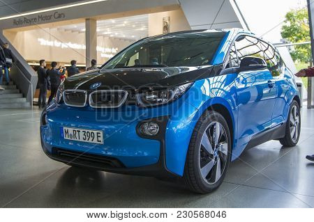 Munich, Germany - November 1, 2017: Blue Electric Bmw I3 Is Presented On Exhibition Center Bmw Welt