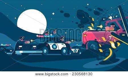 Group Of Policemen Detain Criminal With Shooting Gun. Vector Illustration