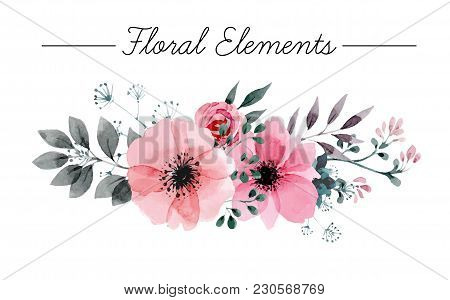 Beautiful Vector Set Flowers And Twigs In A Watercolor Style. Handmade. Spring Design For Invitation