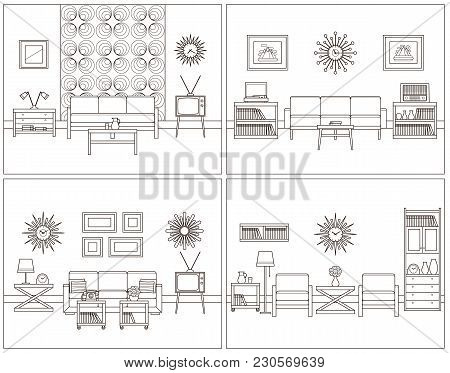 Room Linear Interior. Vector. Living Rooms In Line Art. Flat Design Furniture. Thin Line Home Space.