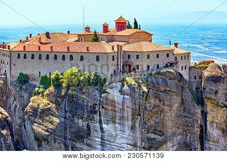 The Meteora Monasteries, Greece Kalambaka. Unesco World Heritage Site. Colorful Landscape. Monastery